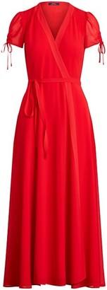 Polo Ralph Lauren Ely Short Puff-Sleeve Surplice Wrap Dress