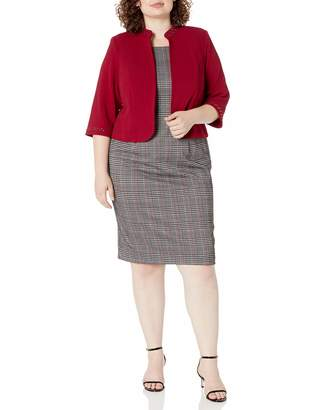 Maya Brooke Women's Plus Size Standing Collar Plaid Jacket Dress