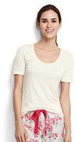 Lands' End Women's Petite Short Sleeve Sleep T-Shirt-Soft White
