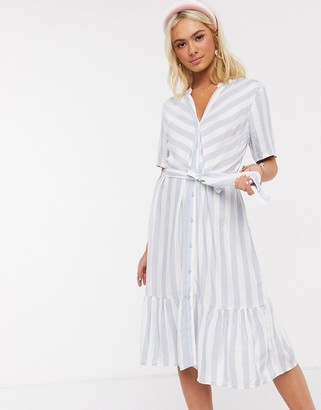 JDY midi dress with ruffle hem in blue stripe