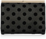 Jimmy Choo CATE Black Polka Dot Mesh on Lamé Glitter Clutch Bag