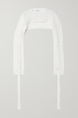 Loewe Cropped Braided Wool Sweater - White