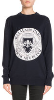 Balmain Crewneck Long-Sleeve Coin Logo Jacquard Sweater