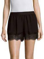 BCBGMAXAZRIA Solid Eyelash Lace Shorts
