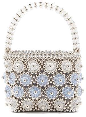 Shrimps Shelly Beaded Floral Handbag - Womens - Silver Multi