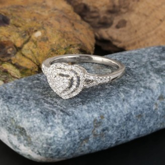 De Couer IGI Certified 1/4ct TDW Diamond Cluster Heart Shape Engagement Ring - White H-I - White H-I