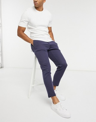 Lockstock textured trousers with elasticated waist in navy