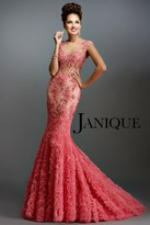Janique - Lace and Tulle Floral Applique Flare Gown 1514
