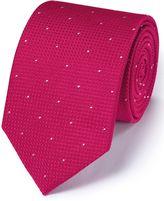Charles Tyrwhitt Dark Pink Silk Classic Textured Dash Tie Size OSFA