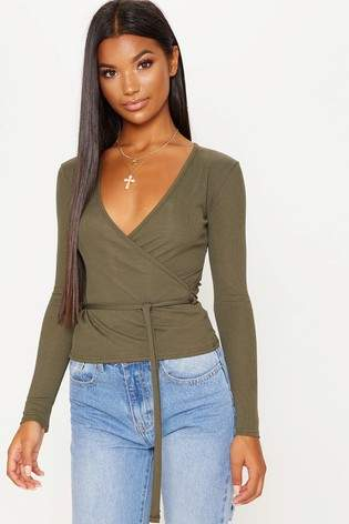 Next Womens PrettyLittleThing Long Sleeve Wrap Top