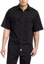 Carhartt Men's Big & Tall Twill Short Sleeve Work Shirt Button Front