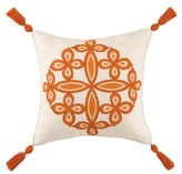 Trina Turk 20x20 Desert Medallion Embroidered Pillow - Mandarin Orange
