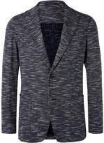 Altea Navy Slim-Fit Unstructured Slub Cotton-Blend Blazer