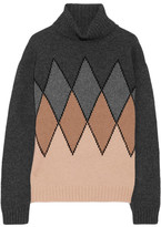 Prada Argyle Camel Hair Turtleneck Sweater - Beige