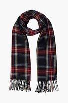 boohoo NEW Womens Sophie Black Check Brushed Scarf in Black size One Size