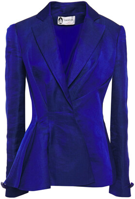 Lanvin Pleated Hemp-blend Peplum Blazer