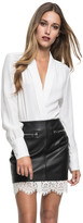 LAMARQUE - Ciona Leather Skirt In Black With White Lace Hem