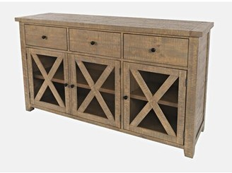 Three Posts Bryon 64'' Wide 3 Drawer Pine Wood Sideboard