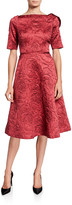 Rickie Freeman For Teri Jon High-Neck Elbow-Sleeve Jacquard A-Line Dress