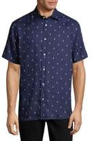 Saks Fifth Avenue BLACK Anchor-Print Linen Button-Down Shirt