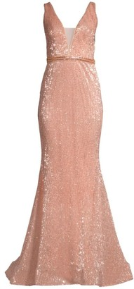 Jovani Deep V Sequin Gown