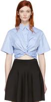Alexander Wang Blue Twist Short Sleeve Cropped Shirt