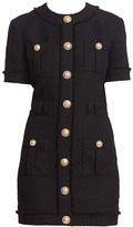 Balmain Buttoned Tweed Mini Dress