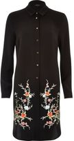 River Island Womens Black embroidered longline shirt