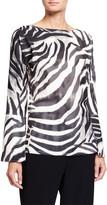 Natori Serengeti Zebra-Stripe Flare-Sleeve Tunic