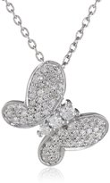 Amazon Collection Sterling Diamond Butterfly Pendant Necklace (1/4 cttw, I-J Color, I2-I3 Clarity), 18""