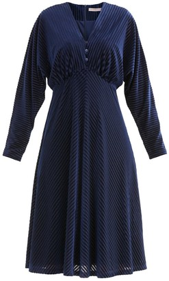 Paisie London Striped Velvet Dress In Navy