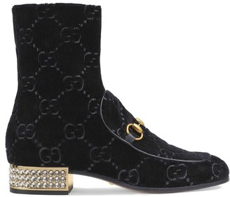 Gucci Horsebit GG velvet boots with crystals