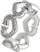 Cartier 18k Pave Diamond C-Heart Ring, 0.36tcw, Size 5.25