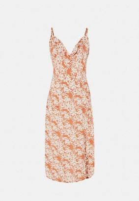 Missguided Floral Print Cami Cowl Neck Slip Midi Dress