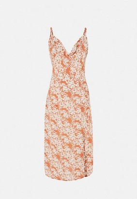 Missguided Rust Floral Print Cami Cowl Neck Slip Midi Dress