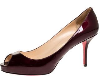 Christian Louboutin Dark Burgundy Patent Leather Prive Peep Toe Pumps Size 39.5