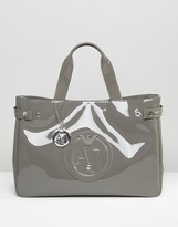 Armani Jeans Patent Tote Bag in Taupe