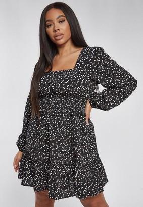 Missguided Plus Size Black Heart Print Shirred Skater Dress