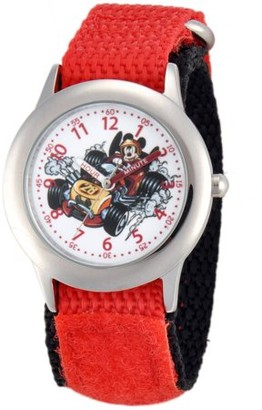 Disney Mickey Mouse Boys' Stainless Steel Time Teacher Watch,Red Hook and Loop Nylon Strap with Black Backing