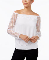 Thalia Sodi Crochet-Sleeve Off-The-Shoulder Top, Created for Macy's