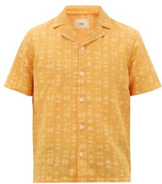 Folk Cuban-collar Triangle-print Linen-blend Shirt - Mens - Gold Multi