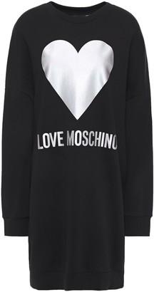 Love Moschino Iridescent Printed French Cotton-terry Mini Dress