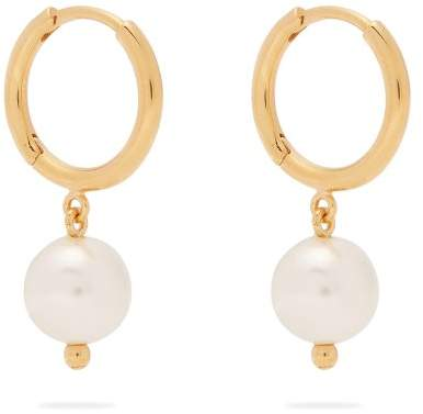 Simone Rocha Faux Pearl Drop Hoop Earrings - Womens - Pearl