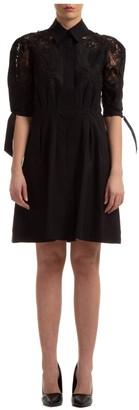 Alberta Ferretti Lace Detail Mini Shirt Dress