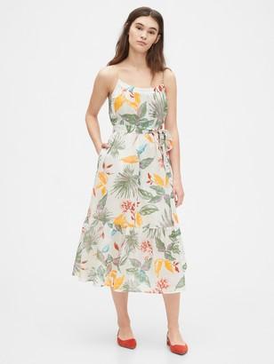 Gap Print Cami Midi Dress in Linen-Cotton