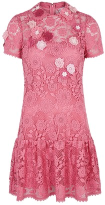 RED Valentino Pink guipure lace mini dress