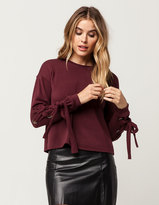 SKY AND SPARROW Grommet Lace Up Womens Sweatshirt