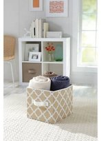 Durable, Stylish Better Homes and Gardens Collapsible Fabric Storage Cube, Set of 2, Multiple Colors, Tan Vertical Trellis by Better Homes & Gardens