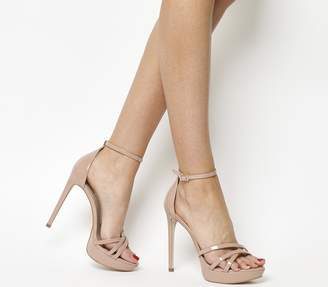 Office Hey Day Platform Heel Sandals Nude Patent Leather