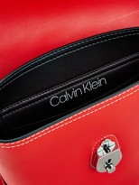 Calvin Klein Leather Lock Small Bucket Bag - Red